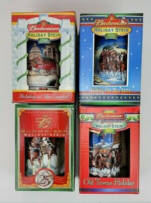 $ CDN74.98 • Buy Lot Of 4 Budweiser Holiday Christmas Stein Mugs Clydesdales 2001 2002 2003 2004