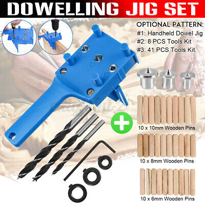 Handheld Woodworking Doweling Jig Drill Guide Wood Dowel Drilling Hole Saw Kit • 7.99£