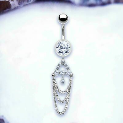 £6.65 • Buy Dangle Belly Bar Belly Chain Silver Navel Ring Crystal Belly Button Jewellery UK