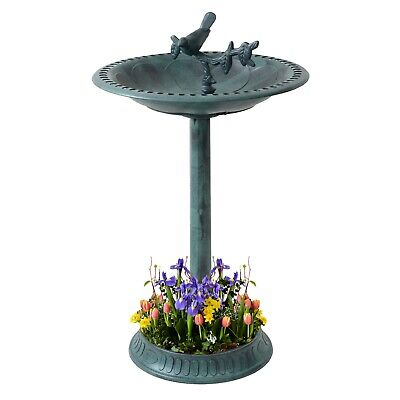 Garden Bird Bath Bowl With Sparrow Statue Traditional Pedestal Ornamental Feeder • 16.99£