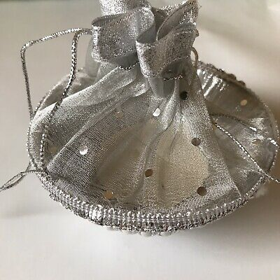 Silver Gift And Favor Bag With Attached Bowl For Mehndi, Wedding, Celebrations  • 4£