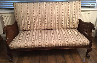 £525 • Buy Edwardian, Upholstered 2Seat Sofa With Double Bergere Sides & Ball And Claw Feet