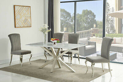 160cm White Ceramic Marble Dining Table And 6 Grey Velvet Chairs Set • 1,289£