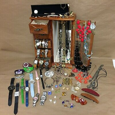 $ CDN162.91 • Buy Vintage - Mod Mixed Lot Jewelry Box Full Several Marked Rings Watches & More