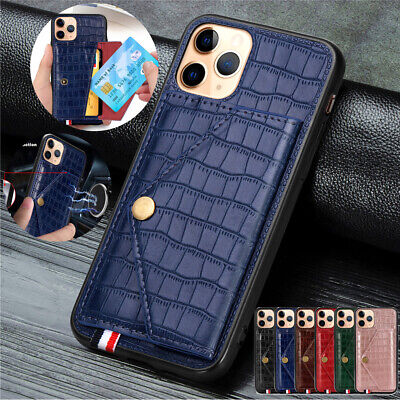 AU14.49 • Buy Croco Leather Card Holder Wallet Stand Back Cover Case For IPhone 12 11 Pro Max
