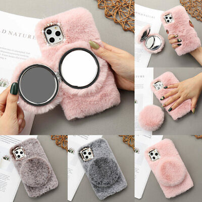 Soft Fluffy Mirror Case For IPhone 11 Pro 12 XR XS Bling Diamond Faux Fur Cover • 6.99£