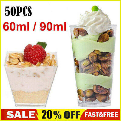 50XMini Square Dessert Cups Cube Plastic Clear Mousse Cup Birthday Party Decor • 7.99£