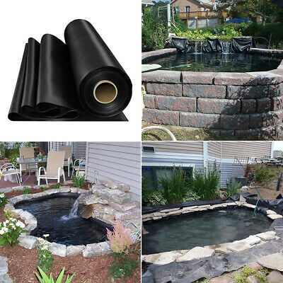 Various Sizes Outdoor Fish Pond Liners Garden Black 0.35mm HDPE Liner Membrane • 55.14£