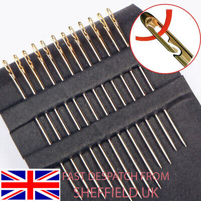 £2.39 • Buy 12 Self Threading Sewing Needles - Assorted Sizes - Easy Thread - 3 Sizes