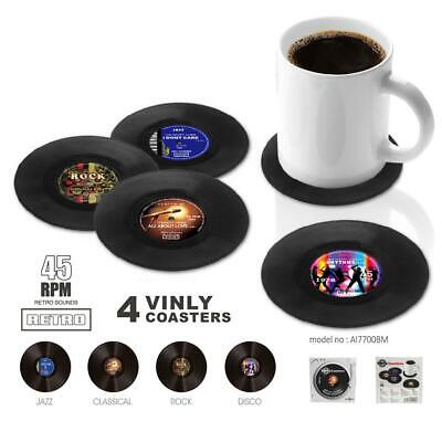 4X VINYL RECORD COASTERS Retro Cup Drink Place Mat Coffee Tea Table Protector • 3.79£