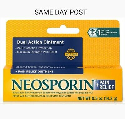 GENUINE NEOSPORIN 0.5oz (14.2g) DUAL ACTION ADULT/KIDS 2+ MAX STRENGTH OINTMENT • 11.80£