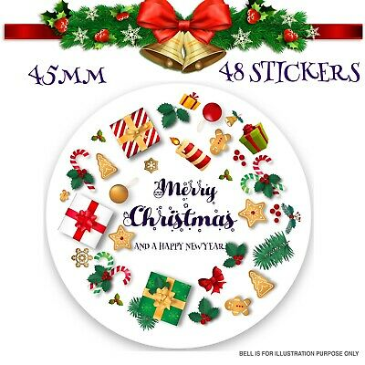 24x Merry Christmas Stickers Labels Gift Decorating Present Seals 45mm SNP27 • 2.49£