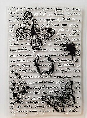 £3.99 • Buy Butterfly Script, Splat Mixed Media Clear Stamps  – BNIP – FREE P & P