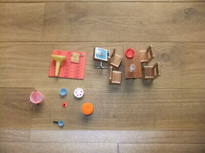 Vintage Lundby Dolls House Furniture Bathroom Table Chairs Tv Cakes Ect • 5£