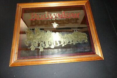 $ CDN199.46 • Buy Vintage Budweiser King Of Beers Clydesdale Horses/coach Gold Bar Mirror Mancave