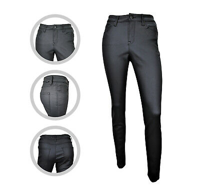 Womens MANGO Super Skinny Faux Leather Coated Jeans Black Size 4 6 8 10 12 14 16 • 12.97£