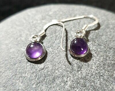 Amethyst Earrings With Solid 925 Silver Hooks, Gemstone Jewellery Gift  • 6.95£