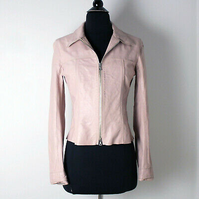 $180 • Buy M0851 Pastel Pink Classic Cut Leather Jacket Size Small