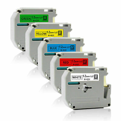 $5.59 • Buy 2PK M-K231 M231 Fit Brother P-Touch M Tape 12mm White Label Maker PT-70 PT-80 90