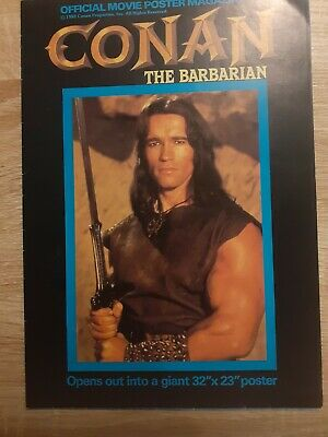 Conan The Barbarian Official Movie Poster Magazine 1982 UK Arnold Schwarzenegger • 12.50£