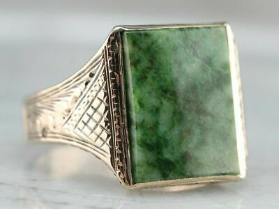 £120.63 • Buy Mens Scattered Natural Green Rectangle Jade 18k Yellow Gold GP Statement Ring