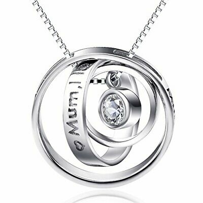 AU46.66 • Buy Sterling Silver Engraved Three Ring Pendant, Necklace Jewellery For Women
