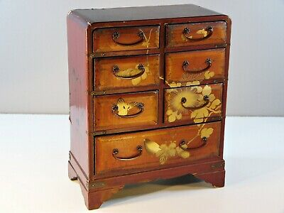 Antique Japanese Red Lacquer Meiji Hand-Painted Miniature Chest • 85£