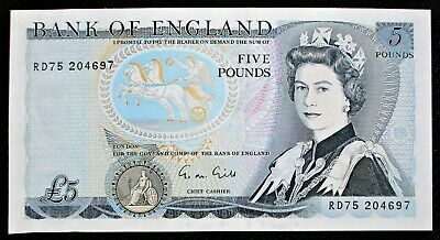 Bank Of England G M GILL £5 Five Pound Note (B353) 1988 - MINT UNC • 25.20£