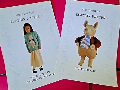 Alan Dart Beatrix Potter Toy & Jumper Knitting Patterns Pigling Bland • 24.99£