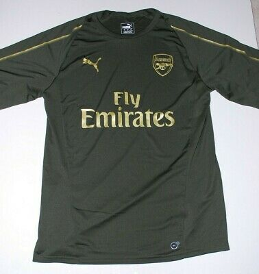 Arsenal Fc Green Gold Puma Training Shirt Size Large Player Issue • 29.99£