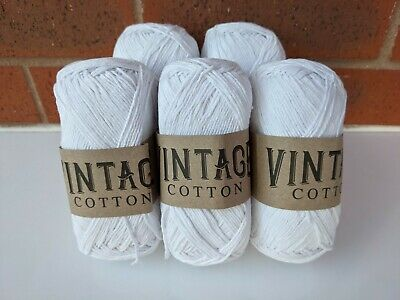 Vintage Cotton Wool / Yarn Double Knit 5 X 100g Each Ball Ice White • 13.49£