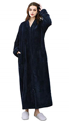 Ladies Dressing Gown Zip Front Soft Fleece House Coat Sexy Sleepwear , Navy, UK • 31.45£