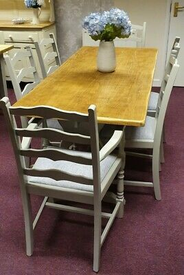 Dining Table & 6 Chairs Finished In French Grey With Designers Guild Seats  • 450£