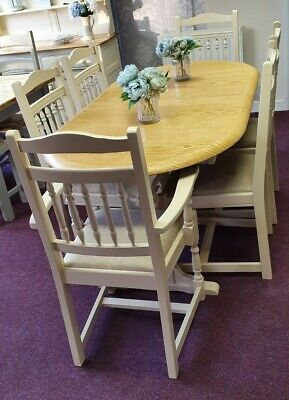 Dining Table & 6 Hairs  Finished In Country Cream , Designers Guild Seats   • 520£