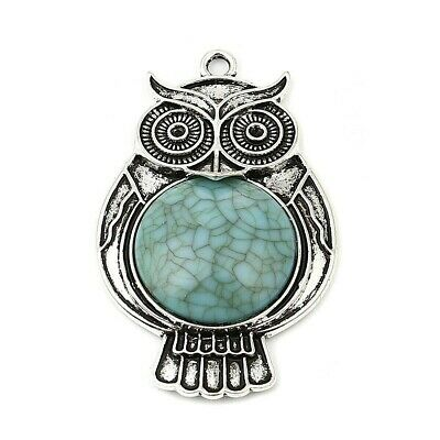 Owl Boho Antique Silver Plated Acrylic Turquoise Pendant Pack Of 1 • 2.60£