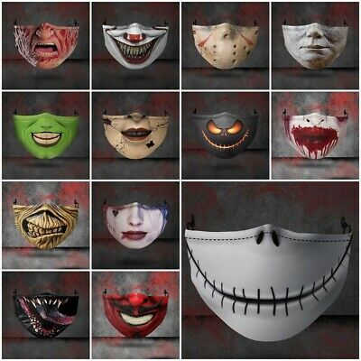 Washable Reusable Halloween Face Mask Funny Scary Fashion Face Covers Horror UK • 4.98£