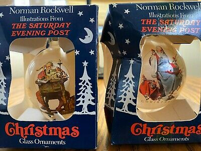 $ CDN23.55 • Buy Vtg. Norman Rockwell The Saturday Evening Post Christmas Glass Ornaments Lot Of