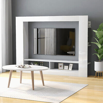 £98.80 • Buy White Gloss TV Unit Modern Lounge Display Cabinet Wall Mount Storage Media Stand