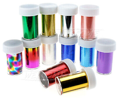 Nail Art Wrap Foils Transfer Glitter Sticker Polish Laser Decal Set Replacement • 7.96£