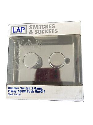 LAP Dimmer 2G 2-Way Double Dimmer Light Switch BLACK NICKEL 250W Mains/LV Flat • 19.50£