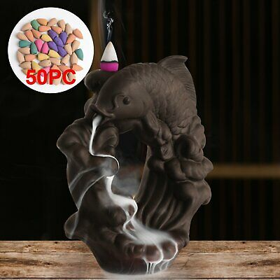 Fish Ceramic Backflow Incense Burner Holder Smoke Waterfall Holder 50 Cones • 13.99£
