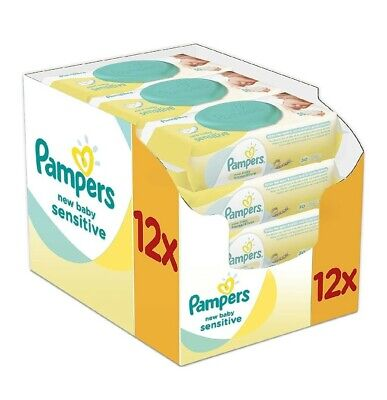 Pampers New Baby Sensitive Wet Wipes, Pack Of 12 (12 X 50 Pieces) • 25.99£