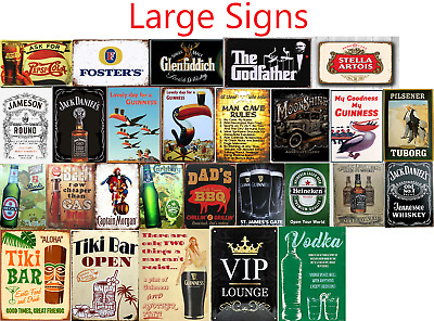Large Signs Metal Plaque Aluminium Vintage Pub Tiki Bar Home Cafe Wall Beer • 7.99£