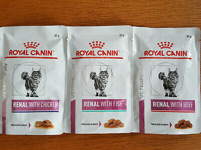 3 Pouches Royal Canin Renal Wet Cat Food 85g Trial Beef Chicken Fish FREE P&P • 4.99£