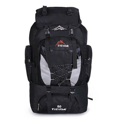 AU81.62 • Buy 80L Camping Hiking Outdoor Luggage Bag Large Nylon Rucksack Backpack Travel Bag
