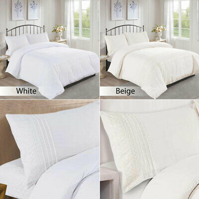 Embroidered Lace Duvet Cover Bedding Set Double King Super King Size 3 Piece Set • 28.99£
