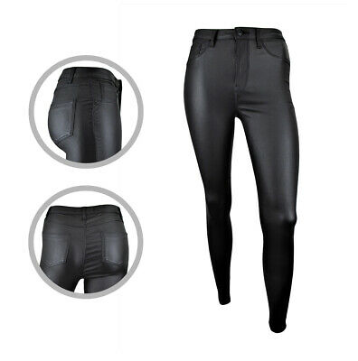 Womens Super Skinny High Waisted Leather Coated Jeggings Jeans Size 4 To 20 • 12.97£