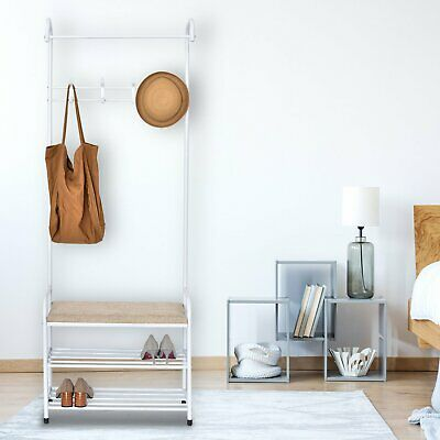 Heavy Duty Metal Hat And Coat Stand Clothes Shelf Rail Bench Shoe Rack Hanger • 27.59£