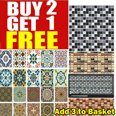 Mosaic Tile Stickers Stick On Bathroom Kitchen Home Wall Decals Self-adhesive • 5.58£