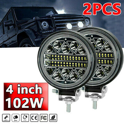 $21.87 • Buy 2x 4inch LED Work Lights 102W Round Pods SPOT Offroad Truck SUV Fog Driving 12V